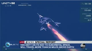 Richard Branson Launches Into Space Aboard His Virgin Galactic Rocket Plane