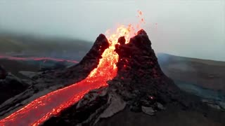 Drone footage captures stunning up-close view of eruption