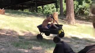 Wagon Ride Ends in Spectacular Roll