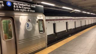 Last American made subway train R 46 enter 207 St Station nyc