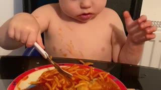 Kiddo Falls Asleep while Eating Spaghetti