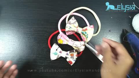 DIY headband ideas: Simple bow with printed cotton fabric