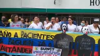 Protesta trabajadores Hospital de Floridablanca