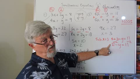 Math 2 Simultaneous Equations 03 Elimination With More Negatives