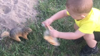 Squirrel Gratefully Takes Toddler's Pizza
