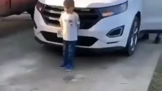 Kid gets Christmas present but gets a different surprise instead