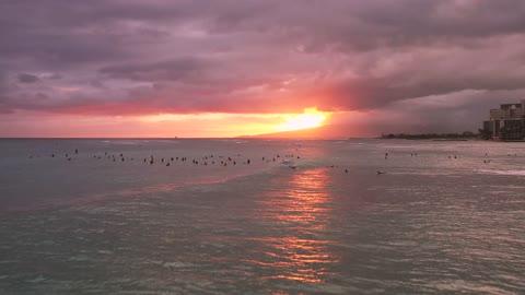 Beautiful Lagoon sunset at surfers paradise