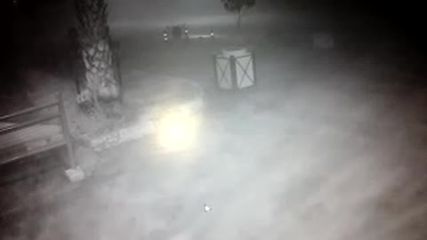 terrifying fog and paranormal movement in front of a surveillance camera