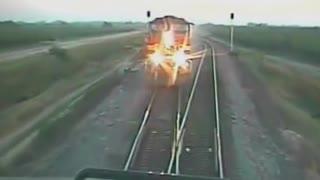 Head on train crash