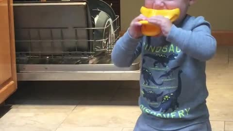 Toddler Tries to Make Duck Call