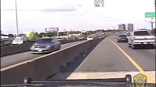 Dash cam - Cop in pursuit of bank robber