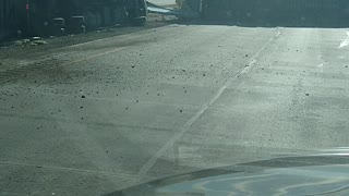 Semi Truck Blows Over in the Wyoming Wind