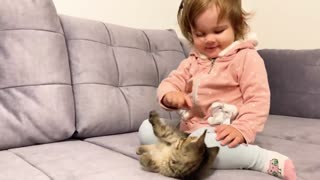 Cute Baby Meets New Baby Kitten for the First Time!