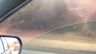 Truck Engulfed In Flames on California Highway