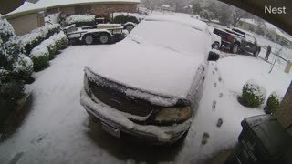 Security Footage Catches Man Shoveling Snow in Bryan, TX