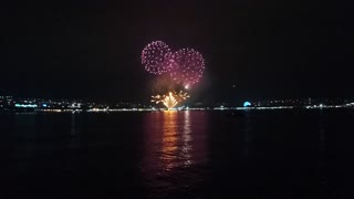 Fireworks view from the sea