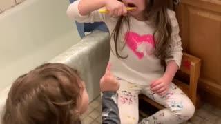 Toddlers CAUGHT Brushing Teeth