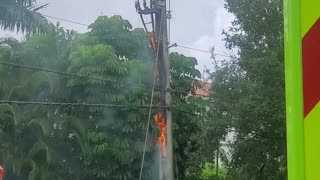 Pole Catches Fire After Being Hit By Lightning