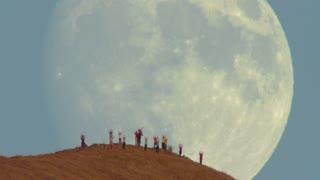 Massive Moon Rise Over Mission Peak Hikers