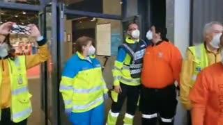 Police Band Honour Medical Staff At Makeshift Hospital
