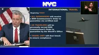 Bill deBlasio: NYC to Enforce Quarantine Order for U.K. Travelers with Home Visits