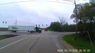 Forklift Falls From Trailer