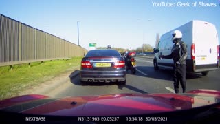 Car Keeps Driving After Accident with Motorcycle