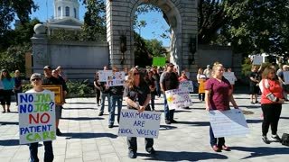Sept 25, 2021 Nurses Protest Vax Mandate with Silent Stand in front of state house
