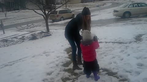 Emma and Aunt Shayleigh snow play #2