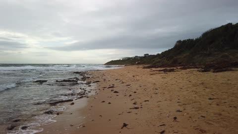Half Moon Bay Beach walk. Sound of waves to relax or sleep. Melbourne, Australia