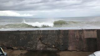 Huge Waves Breaks Over Wall