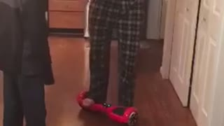 Dad Trying to Use a Hoverboard