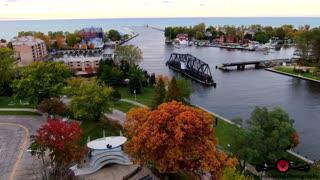 Amazing Fall Colors Around St Joseph Lighthouse Autumn Drone Footage