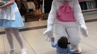 Little Girl Loves Meeting Easter Bunny
