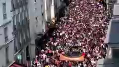 130 French towns are marching against Macrons covid passport.