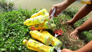 Primitive Technology- Believe This Fishing Fishing Trap With 10 Bottles & 10 Hooks