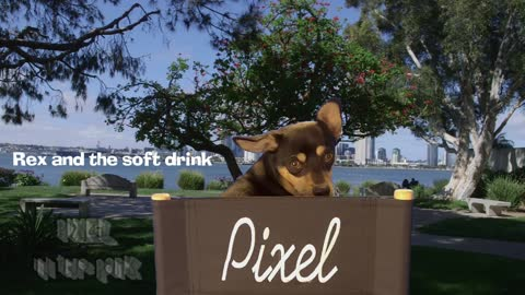 Pixel in the park...Rex and the soft drink