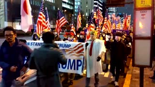Pro-Trump supporters march in Tokyo
