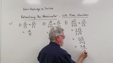 One Minute Math Surds 02 Rationalizing the Denominator With More Numbers