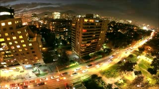 City lights in Santiago, Chile