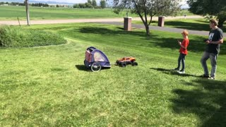 RC Truck Tows Around a Tyke
