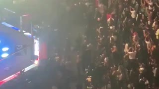 Crowd chants USA as President Donald Trump makes an appearance at UFC 264 in Las Vegas