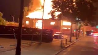 Abandoned church building fire in Santa Ana, California