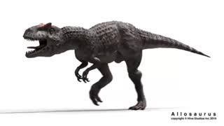 Allosaurus running (with sound effects)