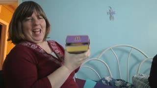 Mom with burger box