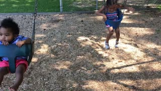 Blasian Babies Brother And Sister On Swings!