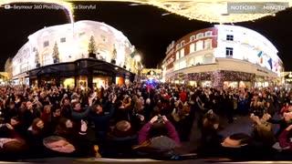 Fantástica vista das luzes de natal em Dublin