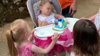 Baby Sleeps Through Birthday Celebration