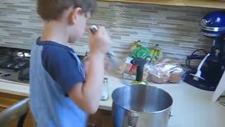 Jonathan showing his cooking skills, Florida, 2019