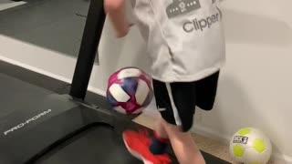Kid Shows Off Excellent Soccer Skills on Treadmill